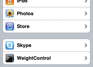 WeightControl settings